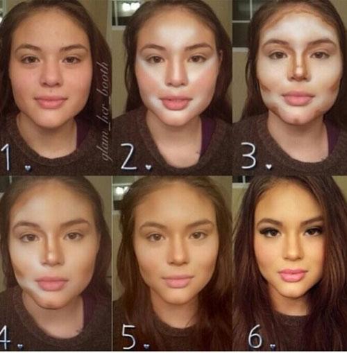 Quy trình làm mặt thon gọn không cần phẫu thuật bằng makeup